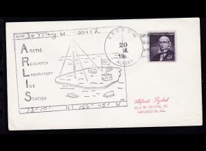 USA Maschinenstempel Barrow Alaska 20 M. 1961 + Cachet ARLIS auf Brief