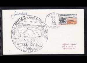 USA Maschinenstempel Barrow Alaska AUG 21 1961 + Cachet ARLIS-II auf Brief