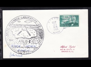 USA Maschinenstempel Barrow Alaska SEP 21 1961 + Cachet ARLIS-II auf Brief