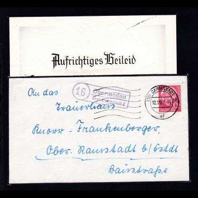 R2 16 Obermodau über Darmstadt 2 + Ost. Darmstadt 12.11.57 auf Trauerbrief mit