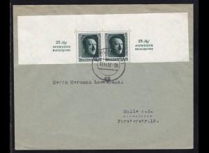 Hitler 6 Pfg. 2x (obere Blockhälfte) auf Brief ab Berlin W11 11.11.37 nach Halle a.S.