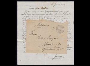 Kais. Deutsche Feldpoststation Nr. 207 13.1.17 auf Feldpostbrief mit Inhalt,
