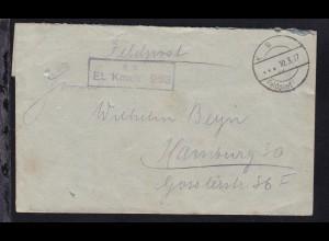 K D Feldpost … 10.3.17 + R2 B.S. Et. Kmdtr. 263 auf Feldpostbrief,