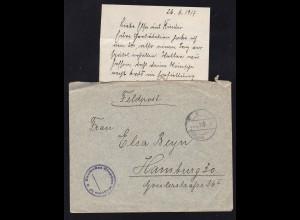 K D Feldpost … 28.6.17 + K1 Deutsches Etappen Magazin 15 auf Feldpostbrief mit
