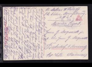 KAIS. DEUTSCHE MARINE-SCHIFFSPOST Nr. ??? 18.7.1918 (Nr. nicht Lesbar)