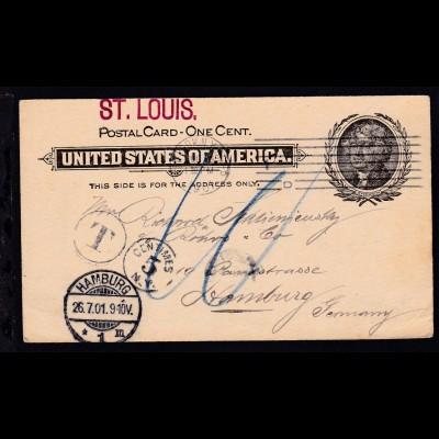 L1 ST. LOUIS auf Ganzsache mit Nachgebühr ab New York JUL 16 1901 nach Hamburg