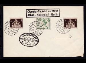 HELLENDORF über PIRNA a 31.7.36 + 2 Cachets Olympia-Fackel-Lauf 1936 Athen-