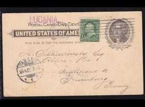 L1 LUCANIA auf Ganzsache mit Zusatzfrankatur ab New York APR 11 1902