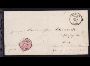 Ziffer 1 Gr. auf Briefhülle mit K1 BERLIN P.E. III. 21/9 71 nach Kiel