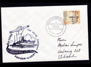 "MARINESCHIFFSPOST 53 a 10.02.83 + Cachet Tender ""Lahn"" AAG 403/83 auf Brief"