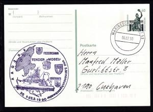 """MARINESCHIFFSPOST 53 a 06.02.90 + Cachet Tender """"Mosel"""" AAG 302 auf Postkarte"""