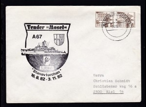 "MARINESCHIFFSPOST 53 a 23.09.82 + Cachet Tender ""Mosel"" auf Brief"