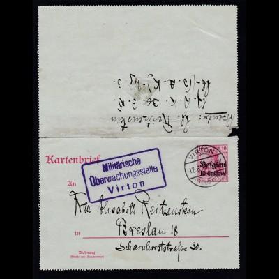Germania 10 Pfg. mit Aufdruck Belgien 10 Centimes ab Virton 12.6.16 nach