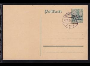 Germania 5 Pfg. mit Aufdruck Belgien 5 Centimes mit Blankostempel BRÜSSEL *1a