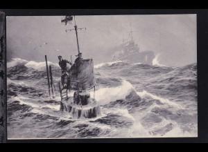 """Unterseeboot in der Nordsee """"Auf der Wacht"""", Stöwer-Karte"""