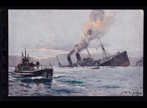 Versenkung eines feindlichen Truppentransporter, Stöwer-Karte, U-Boot-Spende