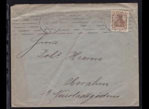 Germania 3 Pfg. auf Brief ab Bremen 5.10.14 nach Oberahm b. Neustadtgödens