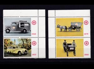 Deutsches Rotes Kreuz der DDR 2 Spendenmarken-Paare mit Motiv Krankenfahrzeuge