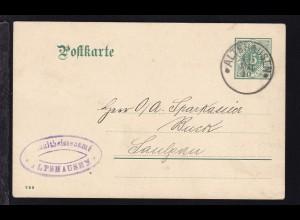 Ziffer 5 Pfg. als Dienstpostkarte des Schultheissenamt Altshausen