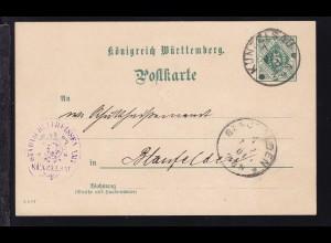 Ziffer 5 Pfg. als Dienstpostkarte des Schultheissenamt Künzelsau