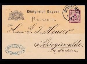 Wappen 5 Pfg. als Firmenpostkarte (Josef Riehl JR, Nürnberg) mit K1 NÜRNBERG 1