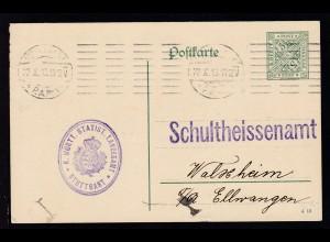 Ziffer 5 Pfg. als Dienstpostkarte des Statist. Landesamt Stuttgart ab Stuttgart