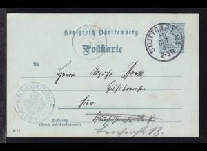 Ziffer 2 Pfg. als Dienstpostkarte des Bezirksnotariat Stuttgart Stadt mit K1