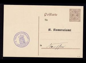 Ziffer 3 Pfg. mit Zudruck als Dienstpostkarte des Ortssteueramt Linsenhofen