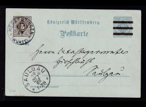 Ziffer 3 Pfg. neben 2 Pfg. als Dienstpostkarte des Schultheissenamt Herbertingen