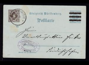 Ziffer 3 Pfg. neben 2 Pfg. als Dienstpostkarte des Schultheissenamt