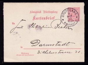 Ziffer 10 Pfg. mit K1 STUTTGART BAHNHOF 1 8 NOV 97 nach Darmstadt