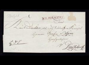 Elberfeld 1814 roter L1 ELBERFELD auf Briefhülle an Graf v. Spee nach Düsseldorf