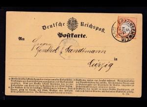Adler mit kleinem Schild ½ Gr. auf Postkarte (Formular C. 154.) mit K2