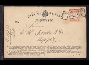 Adler mit großem Schild ½ Gr. auf Postkarte (Formular C 154) mit R3 ZWICKAU i.