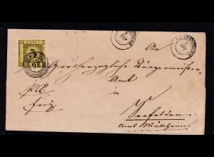 Ziffer 3 Kr. auf Briefhülle mit Nummernstempel 36 und K2 EMMENDINGEN 3 SEP