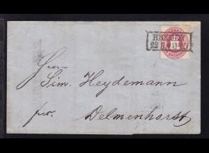 Wappen 1 Gr. auf Brief mit R2 BREMEN 22.5. nach Delmenhorst