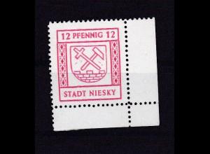 Niesky Freimarke 12 Pfg., Eckrandstück **