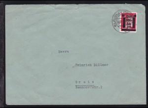 Glauchau Hitler mit Aufdruck 25 auf 12 Pfg. auf Brief ab Glauchau 30.7.45