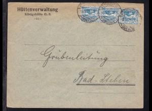 Freimarken 20 Pfg. 3x auf Brief der Hüttenverwaltung Königshütte mit Stempel