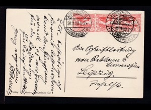 Freimarke 10 Pfg. 3x auf AK (Dominsel) mit Stempel KÖNIGSHÜTTE (OBERSCHL.) *e