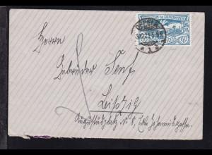 Freimarke 60 Pfg. auf Brief mit Stempel OPPELN *1b 3.12.21 nach Leipzig