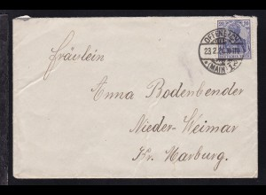 Germania 20 Pfg. auf Brief ab Offenbach (Main) 23.2.20 nach Niederweimar