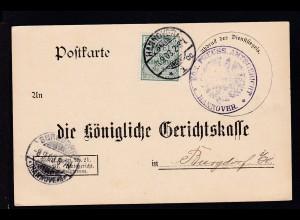 Zähldienstmarke für Preußen 5 Pfg. auf Postkarte des Amtsgericht Hannover