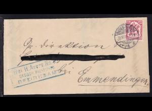 Zähldienstmarke für Baden 10 Pfg. auf Briefteil des Bezirksamt Baden-Baden