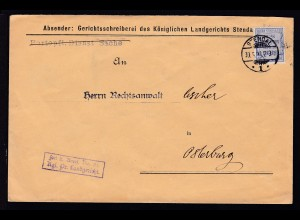 Zähldienstmarke für Preußen 20 Pfg. auf Brief des Landgericht Stendal