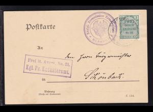 Zähldienstmarke für Preußen 5 Pfg. auf Postkarte des Katasteramt Herborn
