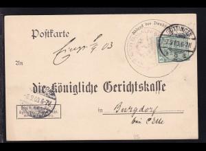 Zähldienstmarke für Preußen 5 Pfg. auf Postkarte der Gerichtskasse Göttingen