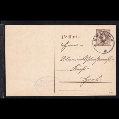 Ziffer 3 Pfg. mit K1 EYACH 6 JUN 15 an Oberamts-Strassenmeister Kiefer nach Horb