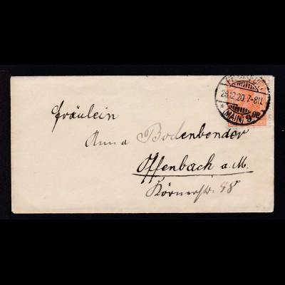 Germania 10 Pfg. auf Brief ab Frankfurt (Main) 28.12.20 nach Offenbaach