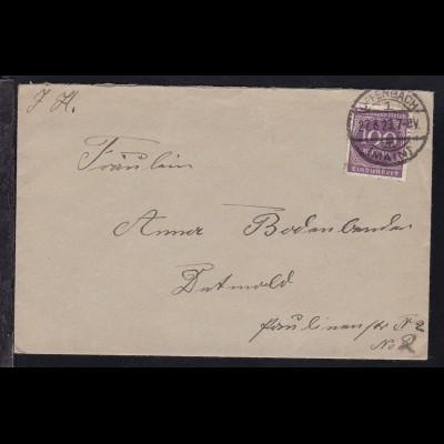 Ziffer 100 M. auf Brief ab Offenbach (Main) 27.6.23 nach Detmold